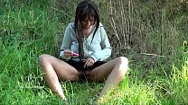 Ebony flasher Candy Canes outdoor masturbation and public nudity of black teen t Preview