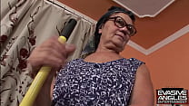EVASIVE ANGLES She brings in a black dude who is more than happy fingering and licking her hairy muff, until he fucks her good and ends up giving her a blinding interracial facial.