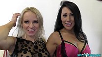 Stunning babes Tara Spades and Candi Kayne enjoy a bukkake party