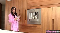 (Shyla Jennings) makes a mess with the milk in the kitchen - Twistys's Thumb