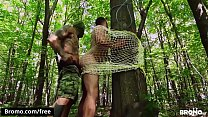 Bareback fucking with two hunks in the woods - BROMO