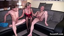 Daddy and Step Son Fuck German MILF in hard Threesome