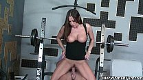 Fitness milf Sky Taylor opens her mouth for cum thumbnail