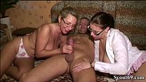 German Mom help Virgin Step Daughter with her First Sex and Fuck her in Threesome with Man