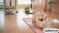 Screenshot Busty blonde  trainer teaches yoga action with t...