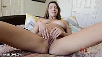 Busty Sarah Bella shows off pussy lips
