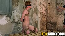 Mature dom gives a handjob to bound redhead twink Avery Monroe