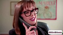 Maddy Oreilly is licking wife Jenna Sativa whos on the phone