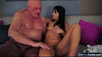 Image: Brunette Naomie sucks off and gives handjob to lucky grandpa