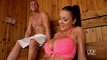 Slovak babe Pattty Michova fucks in Sauna preview image