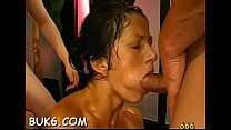 Busty darling gets pussy and face pissing from two fellows