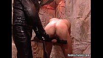Nasty dude tied and fucked in threesome