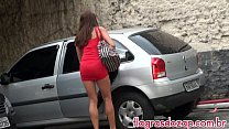 Hot girl changing clothes in the parking lot