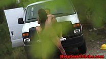 Teen babe dominated by stranger outdoors