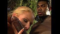 A blonde loves the taste of the big black cock's Thumb