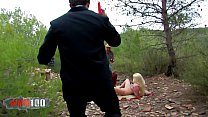 Two hot sluts fucked in the wood, in a crazy indiana jones and james bond parody