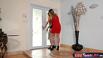 Teen stepdaughter punished by stepmom with a lesbian lesson