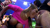 Busty brunette shows cums and blowbang partyli thumbnail
