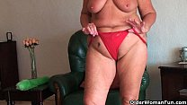 Screenshot Chubby grann y with saggy big tits and plump ass...