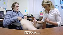 SpyFam Step son office anal fuck with step mom ...