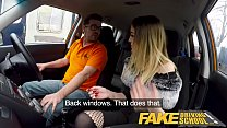 Fake Driving School Petite learner with small t...