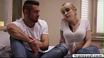 TS Superstar Lena Kelly gets fuck and cum by dudes cock
