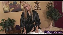 Sweet blonde plays with cock