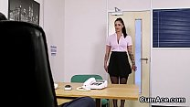 Wicked bombshell gets jizz load on her face swallowing all the spunk