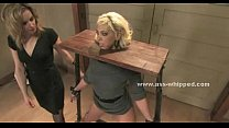 Blonde lady immobilized in bondage sex preview image