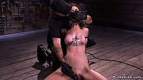 Locked head slave whipped on the floor