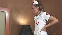 Nurse treats her patient with a blow thumb