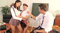 Perverted professor ass fucks his horny teenage students Lisa and Olivia