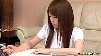 Nazuna Otoi rubbing her wet cunt with a sex toy thumb