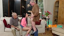 Stunning black haired teen pleased passionately by an old man Thumbnail