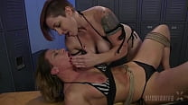 Mistress Kara Works Over Submissive Ariel X Strapon Fucking Her In A Locker room