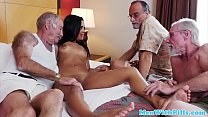 Petite ebony babe screwed in foursome