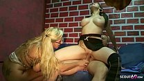 German Step Mom Teach Daughter How to Fuck in Threesome