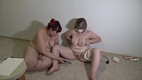 Mature lesbians in a sex chat show a stranger their chic forms. Big tits, fat belly, juicy PAWG, and plump pussy. Home virtual fetish in front of webcam.