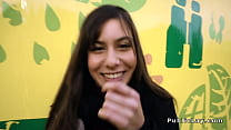 Romanian hottie gets anal in public preview image