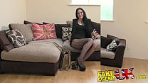 FakeAgentUK Sexy stocking clad Liverpool girl spreads legs in casting
