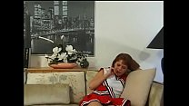 Redhead cheerleader fucks her man on the couch