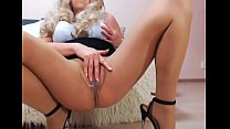 Sexy Blonde MILF in pantyhose and heels Masturbating on Cam - sexycams.ml