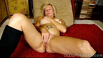 Naughty old spunker frigs her soaking wet pussy for you thumbnail