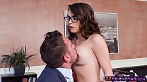 Teen with glasses pleasuring the cock of her professor