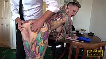 Fully tattooed subslut Piggy Mouth slammed by r...