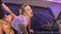 Submissive Euro beauty showers with lots of hot golden water