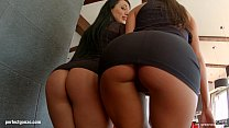 Spermswap Two hot brunettes with perfect bodies know how to handle a nice big co