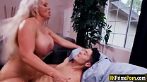 Fiery blonde woman tit fucked and plowed Thumbnail