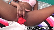 11373 Real Intense Orgasm Pussy Squirt By Young Ebony Cosplay Model Msnovember Spreading Her Skinny Legs Apart and Squirting On Her Red Panties HD Sheisnovember preview