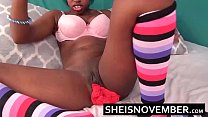 Kawaii Real Intense Orgasm Pussy Squirt By Young Ebony Cosplay Model Msnovember Spreading Her Skinny Legs Apart and Squirting On Her Red Panties HD Sheisnovember صورة